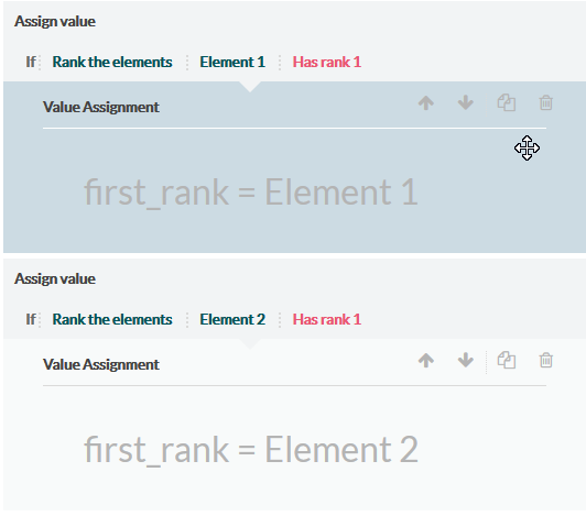 filters on value assignments