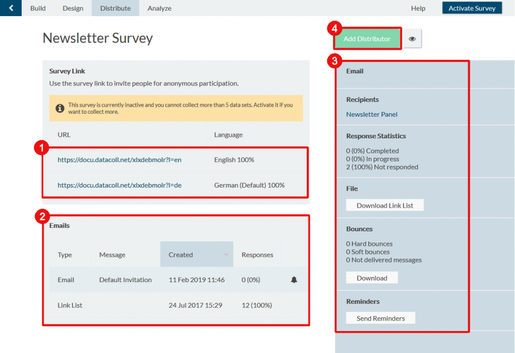 distribute survey overview