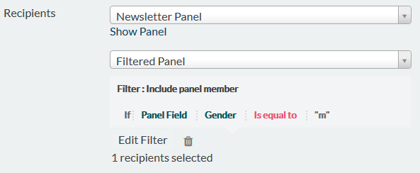 filtered panel to invite only part of possible respondents