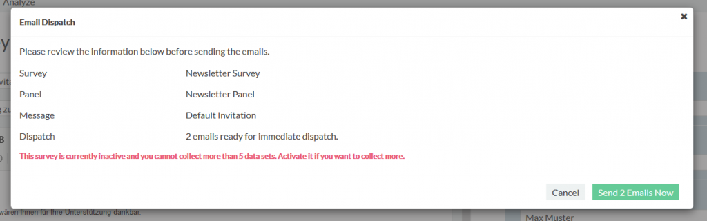 send email to invite respondents
