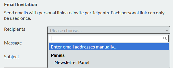 Email invitations details to invite respondents