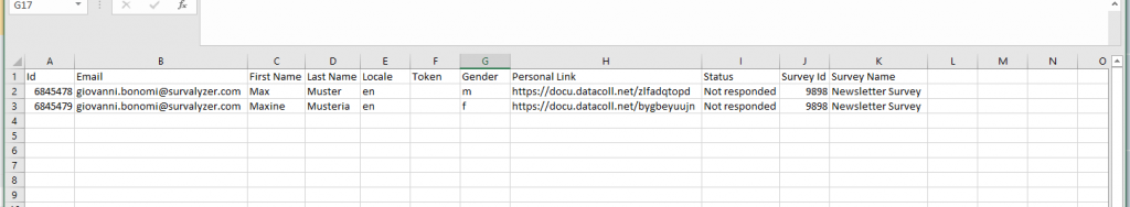 Excel Export of link list which can be used to invite respondents