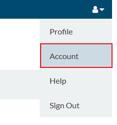 Menu option for account information page