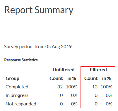 analyze filter in report summary