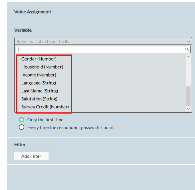 panel variables available in value assignment containing the Survey Credits variable
