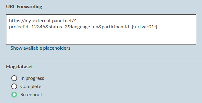 link external panel provider screenout