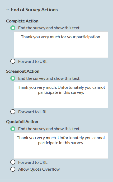 smart sampling: End of survey actions