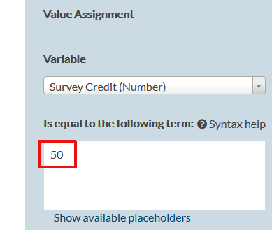 Value in Value Assignment for the Survey Credits that need to be added