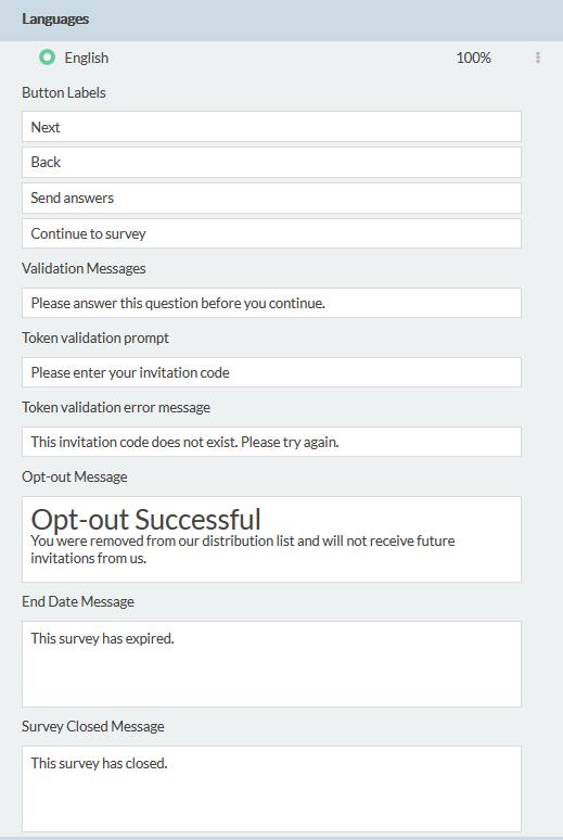 showing default messages