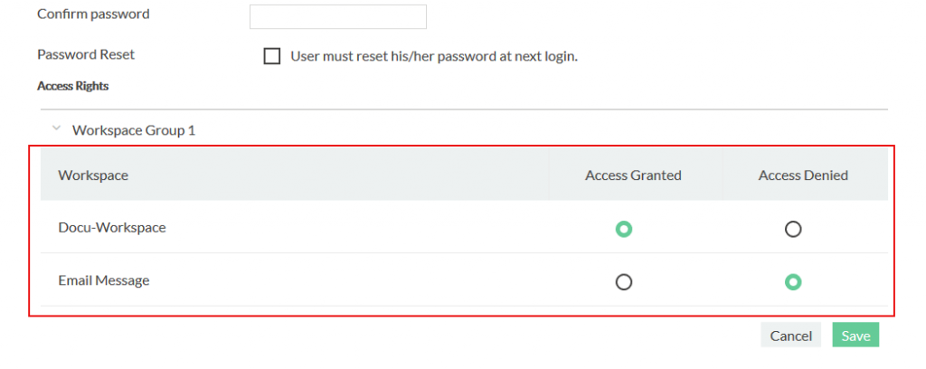 Access rights on user editor. Here you can set the user permissions