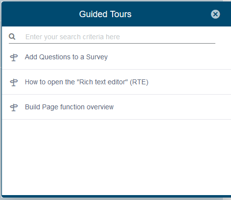 First steps in Survalyzer by using Guided Tours