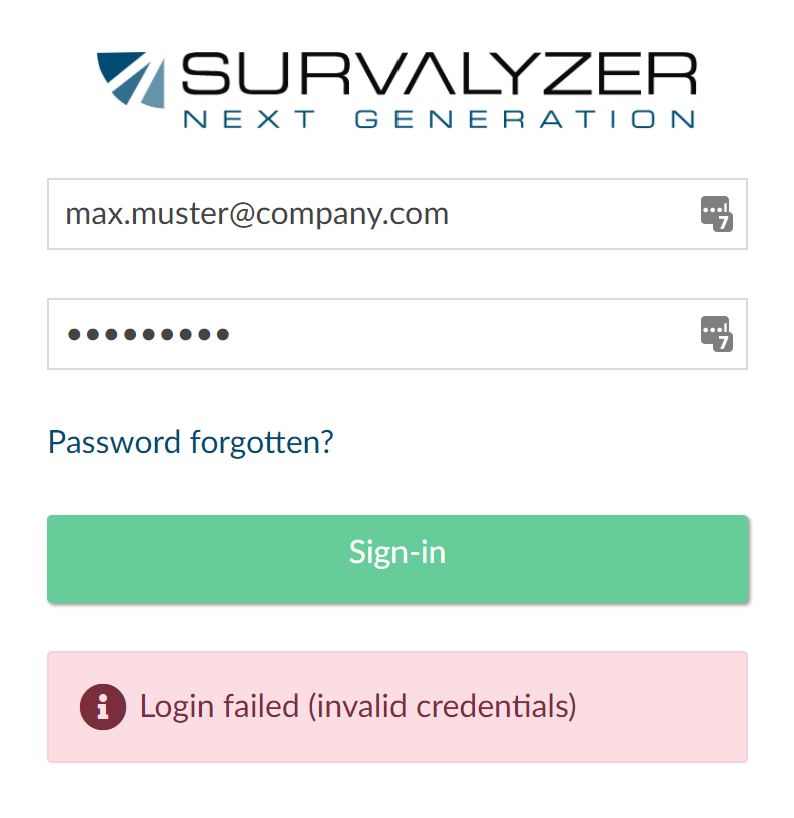 login issue screen