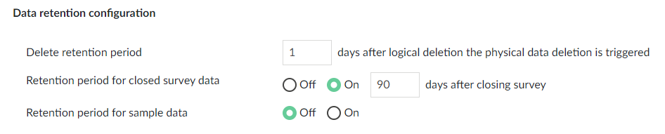 Configuration screen of retention period according to gdpr.